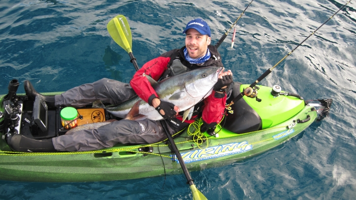 Arnie with his 17 kg kingfish and a nice snapper tugged under his leg